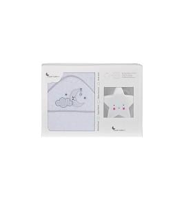 Bath Towel - 100X100 - 400 Gsm Cotton Terry + Lamp Star - Mod. Nube Luna - White/Gray