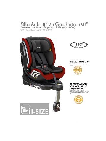 Silla Auto 0 1 2 3 Ares Giratoria 360 º ISIZE Rojo