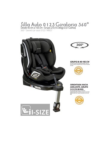 Silla Auto 0 1 2 3 Ares Giratoria 360 º ISIZE Negro