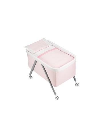 Minicuna Aluminio Rayas Rosa