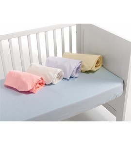 Fitted Sheet For Cot Bed60X120 Popelin 100% Cotton - White