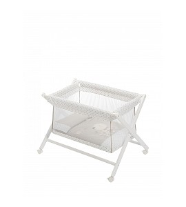 Crib In X In White Beech + Bedding + Transparent Garment + Mattress - Mod. Nature - Beige