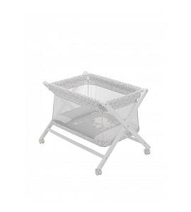 Crib In X In White Beech + Bedding + Transparent Garment + Mattress - Mod. Nature - Pink