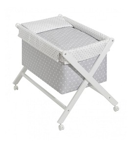 Crib In X In White Beech + Bedding + Garment + Mattress - Mod. Star - Gray
