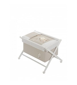 Crib In X In White Beech + Bedding + Garment + Mattress - Mod. Nature - Beige
