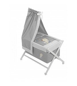 Crib In X In White Beech + Bedding + Garment + Mattress With Canopy - Mod. Nature - Blue