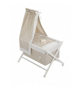 Crib In X In White Beech + Bedding + Garment + Mattress With Canopy - Mod. Nature - Beige