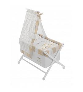 Bassinet White + Textil + Canopy For Bassinet - Mod.Pasword Beig