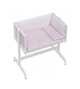 Co-Sleeping Crib In White Beech + Bedding + Garment + Mattress - Mod. Star - Pink