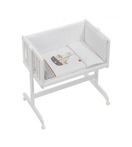 Co-Sleeping Crib In White Beech + Bedding + Garment + Mattress - Mod. Pirata
