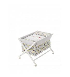 Crib In X In White Beech + Bedding + Garment + Mattress - Mod. Osito Bear - Blue