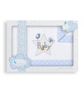 Sábanas Minicuna Baby Blanco Azul