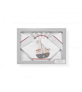 3 Pcs Bedding For Crib(Sheet106X82+Fitted S.85X55X9+Case50X30)Cotton - Mod. Pirata - W/Gray
