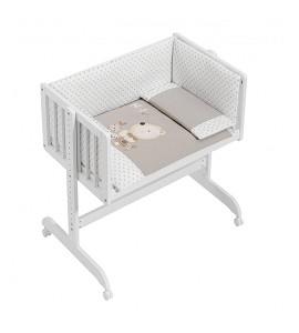 Co-Sleeping Crib In White Beech + Bedding + Garment + Mattress - Mod. Nature - Beige