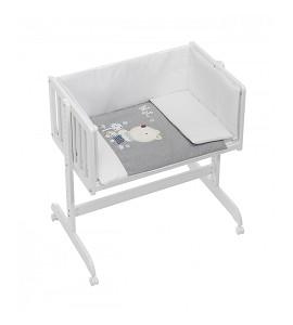 Co-Sleeping Crib In White Beech + Bedding + Garment + Mattress - Mod. Nature - Blue