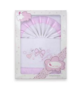 Sábanas Minicuna Franela Lazos Blanco Rosa