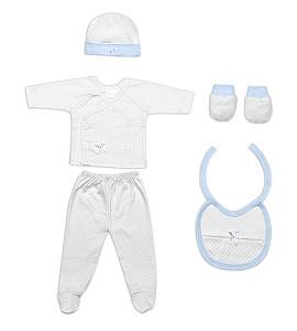 Set 5 Pieces (Shirt+Pants+Gloves+Bib+Socks) For New Born (0-6 Months) - 100% Cotton - Blue
