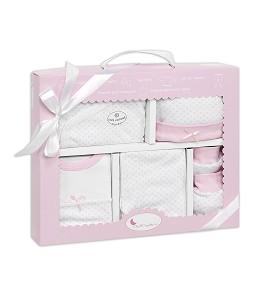 Gift Set - 5 Pcs 100% Cotton - - T 0-6 M (Hat-Globes-Pants-Body-Bib) Pink