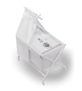 Bassinet White + Textil + Canopy For Bassinet - Mod.Papis Felices Pink