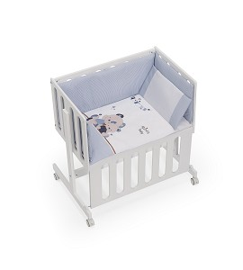 Minicuna Minana Colecho con Textil Friends Baby Azul