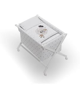 Crib In X In White Beech + Bedding + Garment + Mattress - Mod. Amorosos - Beige