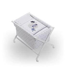 Crib In X In White Beech + Bedding + Garment + Mattress - Mod. Amorosos - Gray