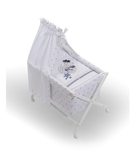 Crib In X In White Beech + Bedding + Garment + Mattress With Canopy - Mod. Amorosos - Blue
