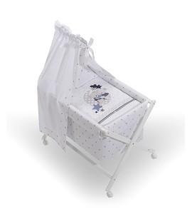 Crib In X In White Beech + Bedding + Garment + Mattress With Canopy - Mod. Amorosos - Gray