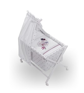 Crib In X In White Beech + Bedding + Garment + Mattress With Canopy - Mod. Amorosos - Pink
