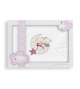 Sábanas Minicuna Amoroso Blanco Rosa