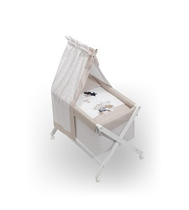 Bassinet White + Textil + Canopy For Bassinet - Mod.Volamos Baby Beig