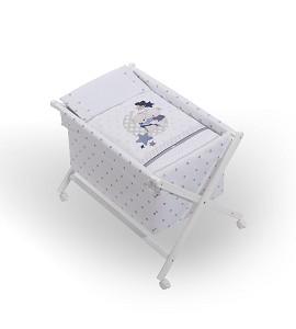 Crib In X In White Beech + Bedding + Garment + Mattress - Mod. Amorosos - Blue