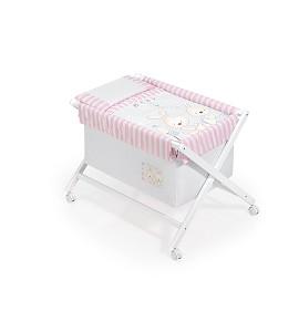 Crib In White + Textile - Mod Conejito Baby Pink