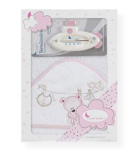 Capa de Baño Tendero Oso y Termometro Blanco Rosa