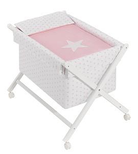 Minicuna Estrella Rosa con Textil
