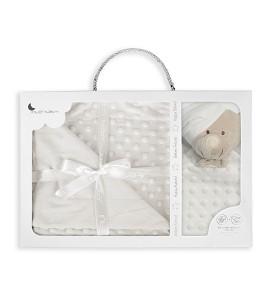 Bubble Blanket - 80 X 110 - Coral Flecce + Doudou 28X17 - Mod. Osito - Beige
