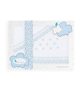3 Pcs Bedding Set For Pram Coral Flecce - Mod. Bodoques White/Blue