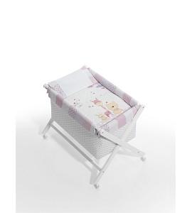 Mini crib Pink Friends textile bedding