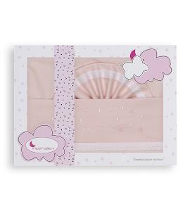 3 Pcs Bedding Cot 60X120(Sheet152X102+Fitted S.120X60X12+Case60X30)Cotton - Mod. Estrellas - Pink