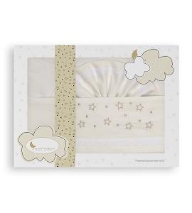 3 Pcs Bedding Cot 60X120(Sheet152X102+Fitted S.120X60X12+Case60X30)Cotton - Mod. Estrellas - Beige