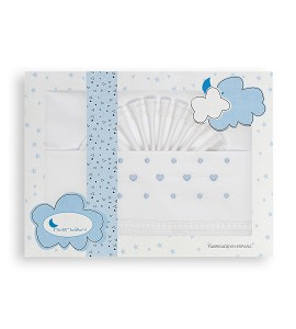 Bedding Set For Bassinet 100 % Cotton - Mod Corazon Bodoques White/Blue