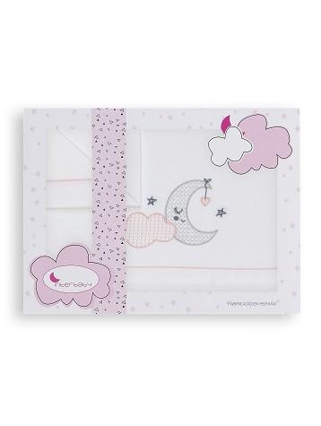 Sábanas Minicunas Nube Luna Blanco Rosa