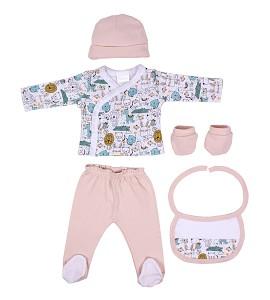 Set 5 Pcs(Shirt+Pants+Gloves+Bib+Socks)For New Born (0-6Months)-100%Cotton-Mod. Animalitos - Pink