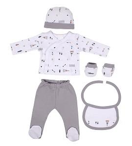 Set 5 Pcs(Shirt+Pants+Gloves+Bib+Socks)For New Born (0-6Months)-100%Cotton-Mod. Indio - Gray