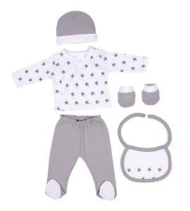 Set 5 Pcs(Shirt+Pants+Gloves+Bib+Socks)For New Born (0-6Months)-100%Cotton-Mod. Estrellas - Gray