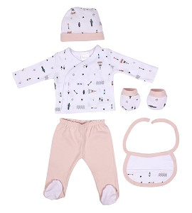 Set 5 Pcs(Shirt+Pants+Gloves+Bib+Socks)For New Born (0-6Months)-100%Cotton-Mod. Indio - Blue