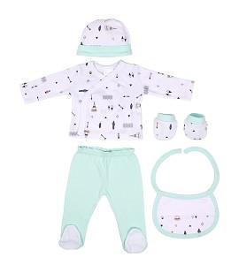 Set 5 Pcs(Shirt+Pants+Gloves+Bib+Socks)For New Born (0-6Months)-100%Cotton-Mod. Indio - Green