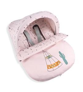 Universal Footmuff Group 0 - Watertight - 49X72 Cms - Coral Fleece - Mod. Cabañas - Pink