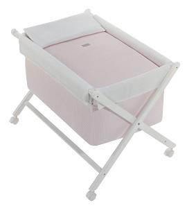 Crib In X In White Beech + Bedding + Garment + Mattress - Mod. Astrid - Pink