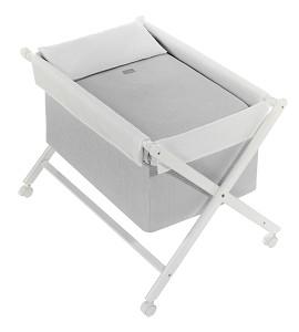 Crib In X In White Beech + Bedding + Garment + Mattress - Mod. Astrid - Gray